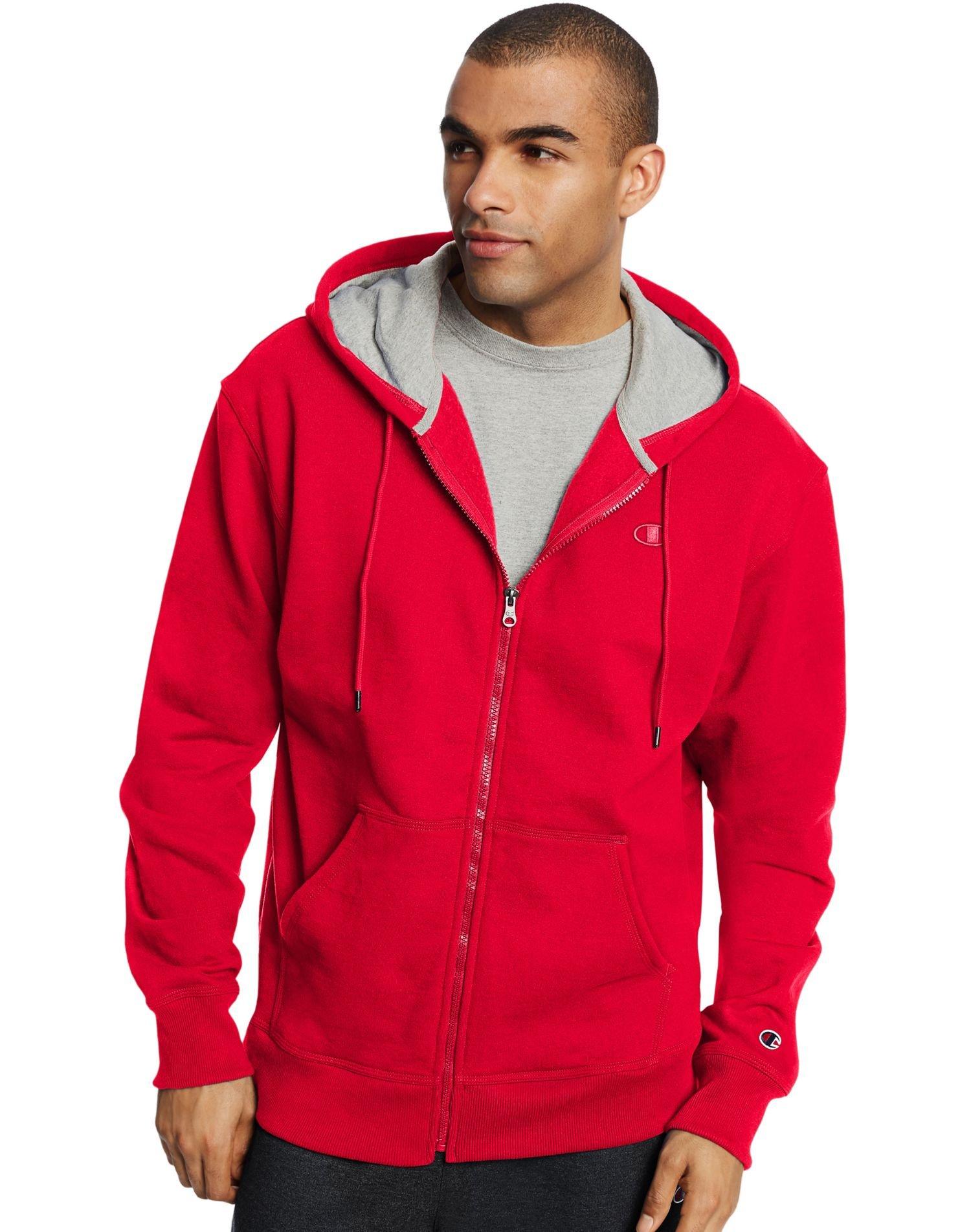 Champion Men`s Powerblend Fleece Full Zip Jacket, 4XL, Team Red Scarlet