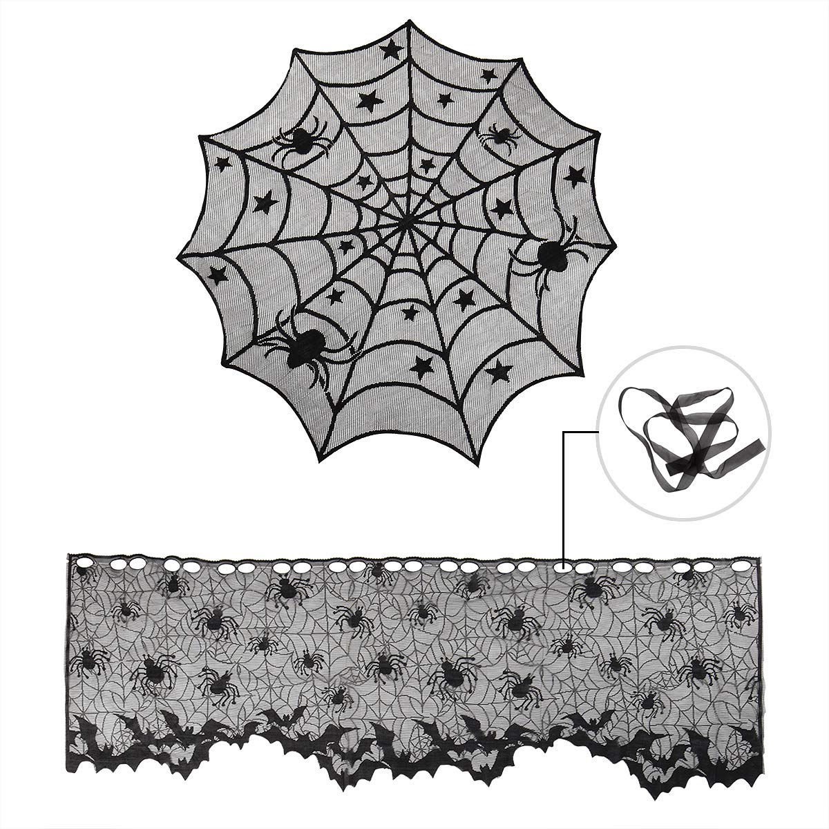 40'' Round Halloween Table Runner Spider Tablecloths Polyester Lace Table Topper and Black Lamp Shades Cover with Ribbon Lace Spider Fireplace Mantle Scarf Cover Window Valance for Halloween Decoration