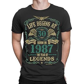 Buzz Shirts Life Begins At 30 Hombres Camiseta - Born In 1987 Year Of Legends 30th Regalo de Cumpleaños: Amazon.es: Ropa y accesorios