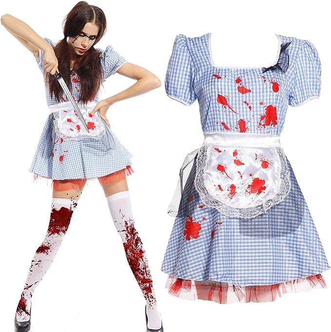 Maboobie - Disfraz de criada sirvienta zombie sexy para mujer ...
