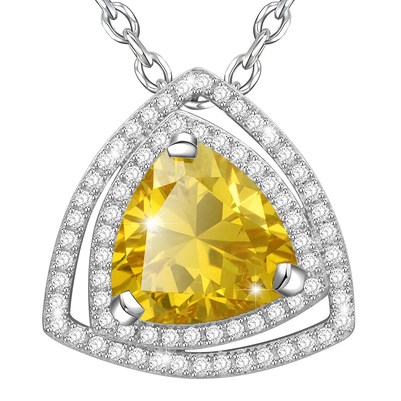 MARENJA Regalo San Valentín Collar Mujer de Moda Colgante Amarillo de Corte