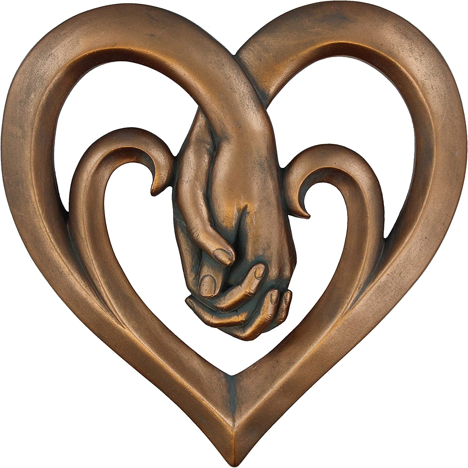 Heart Holding Hands Wall Decor Decorative Art Sculpture - Copper Bronze Verdigris Finish - Forever Love