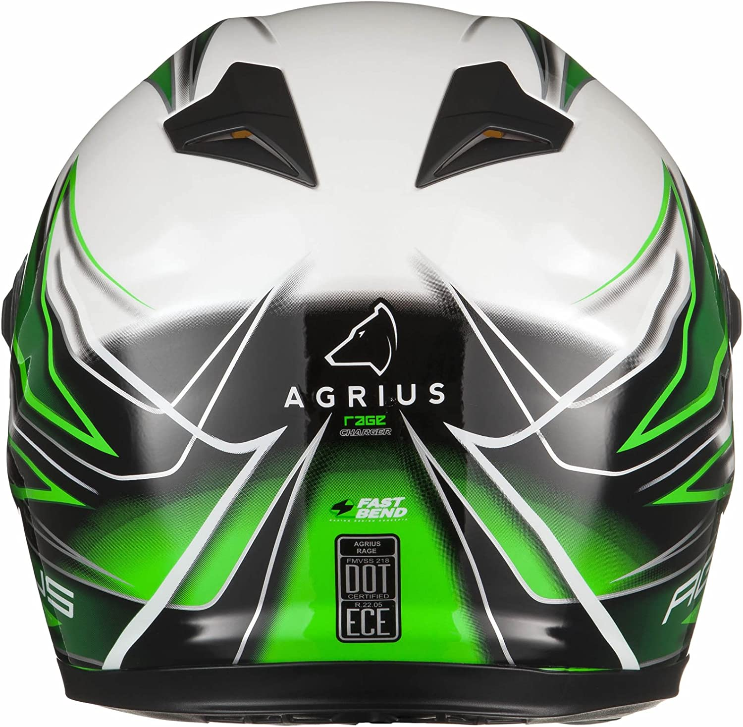 Agrius Rage Charger Motorcycle Helmet M Gloss Pearl White//Green