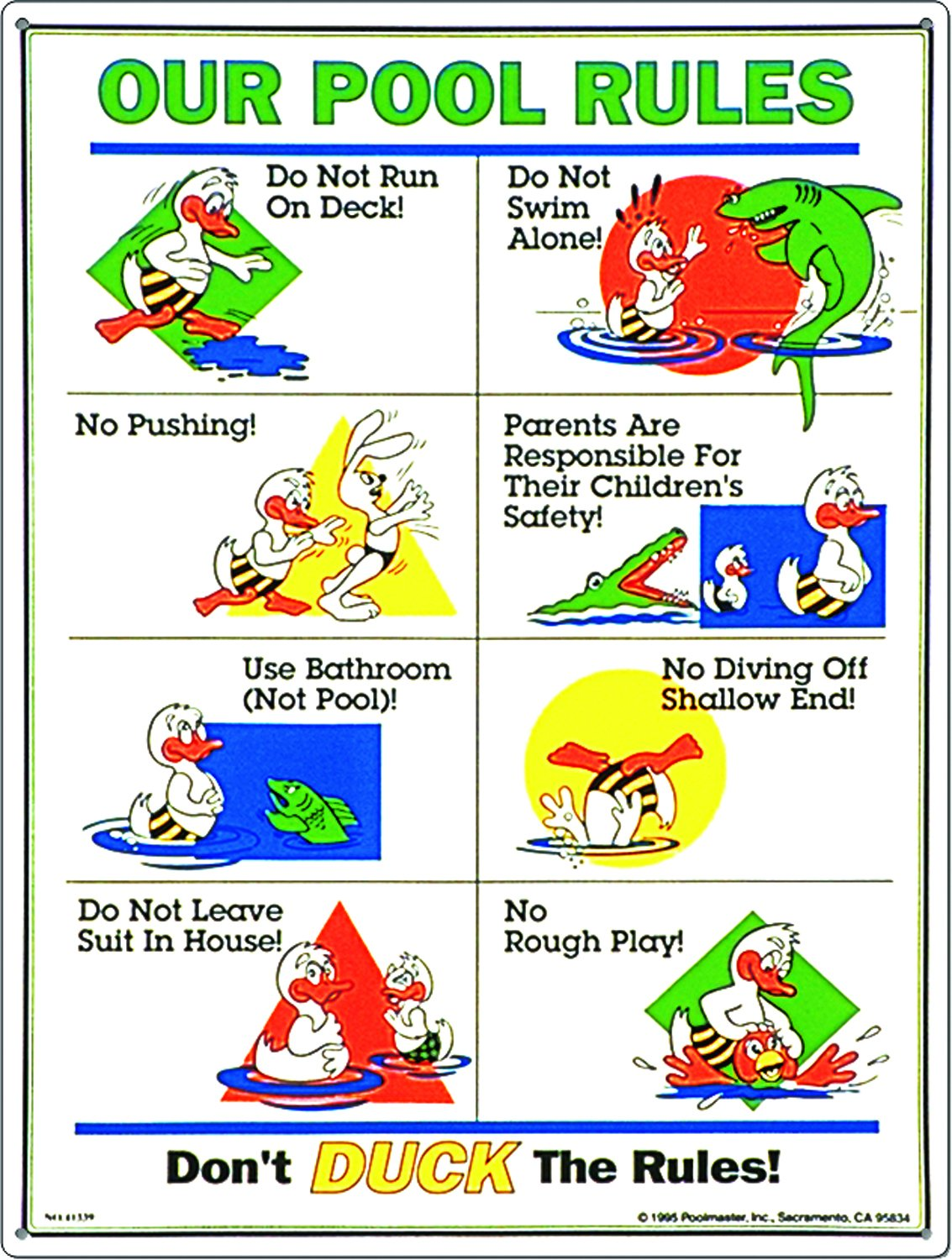 Poolmaster 41339 Our Pool Rules Duck Animation Sign for Residential Pools