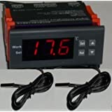 Differential Temperature Controller T2-T1 Thermostat Water Heater, Pool Solar Panel Pump 2 Sensors Fahrenheit Celsius