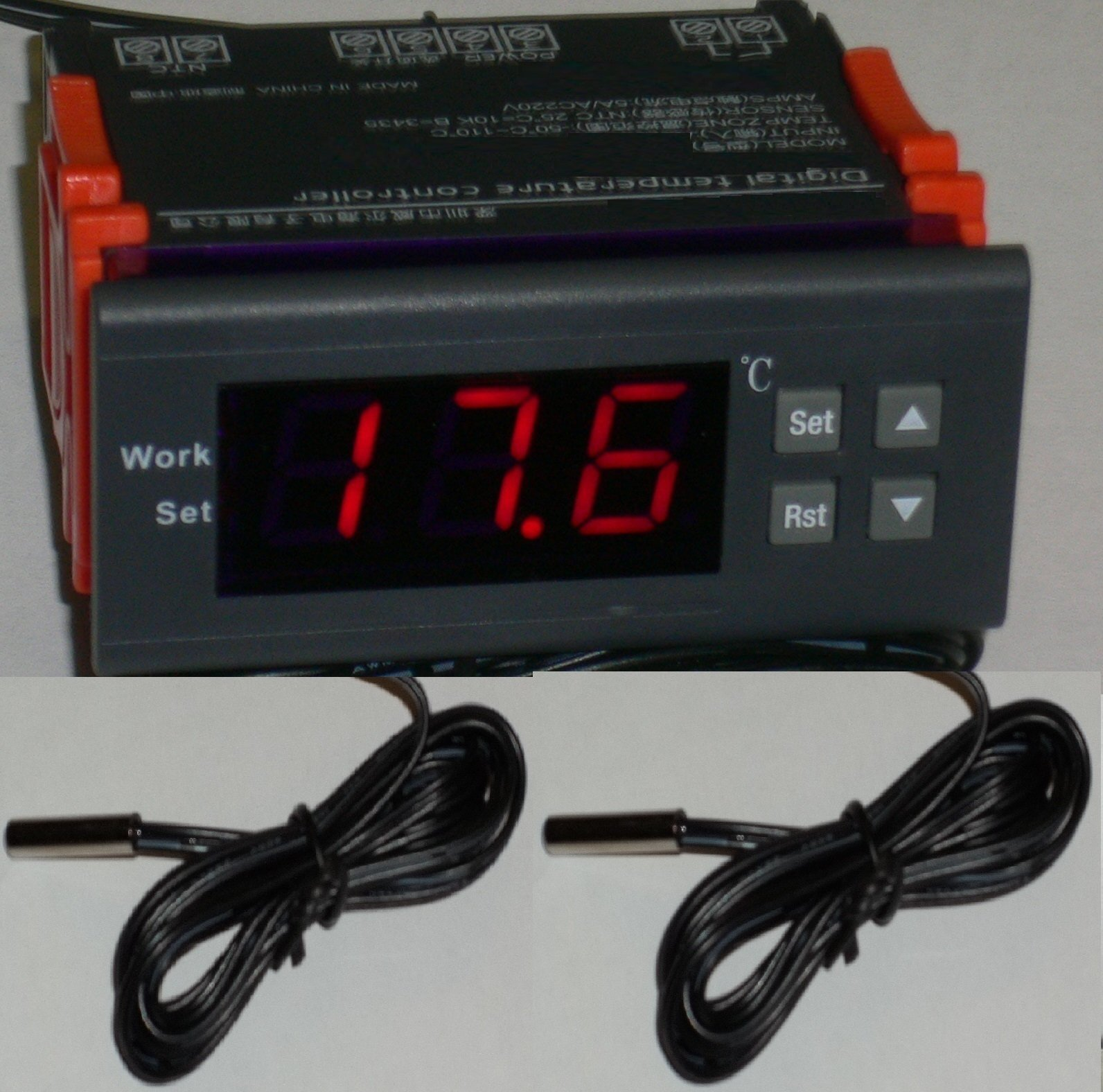 12V Differential Temperature Controller T2-T1 Thermostat Water Heater, Pool Solar Panel Pump 2 Sensors Fahrenheit Celsius by Thermomart