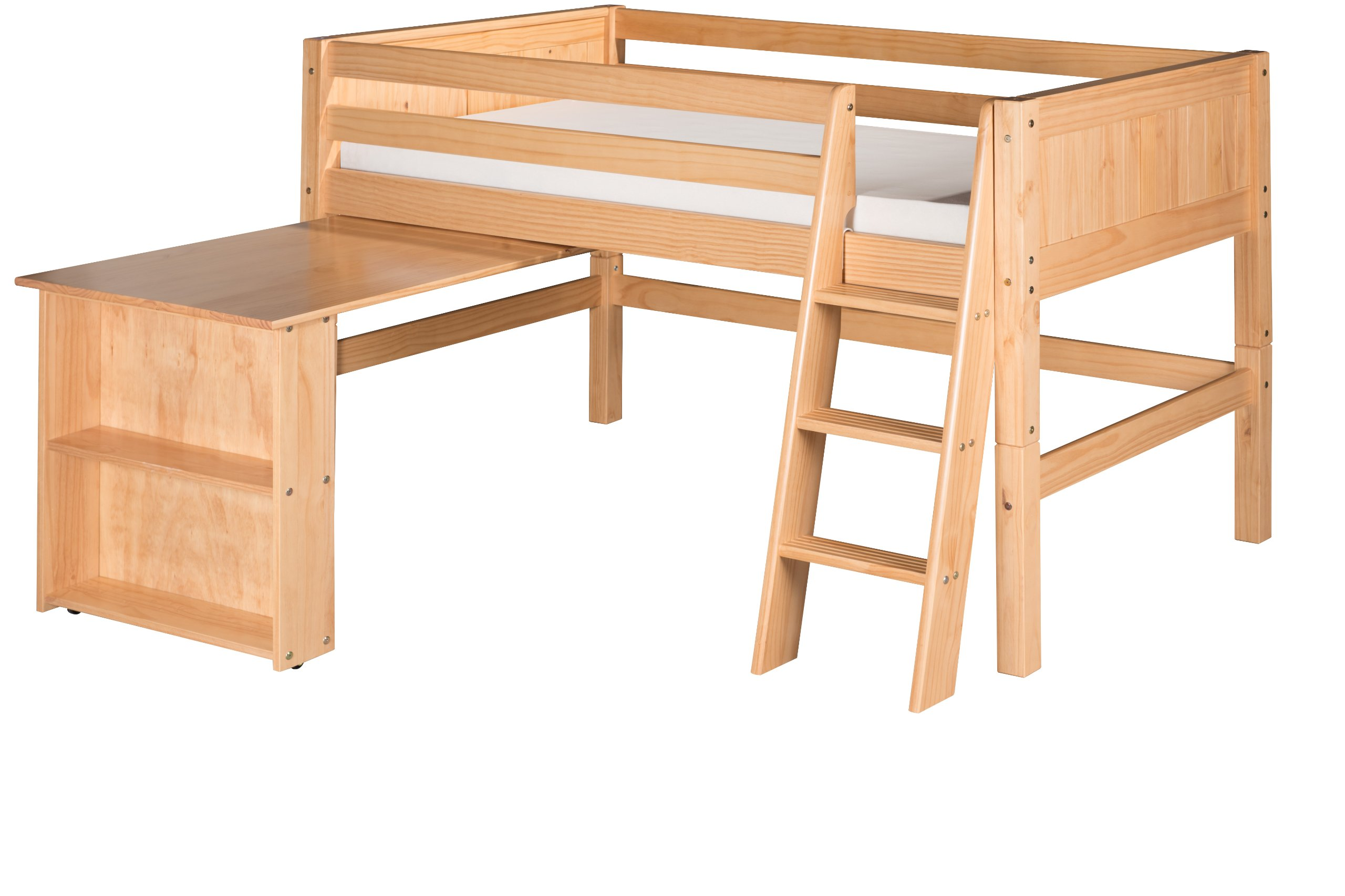 Camaflexi Panel Style Solid Wood Low Loft Bed with Retractable Desk, Twin, Side Angled Ladder, Natural