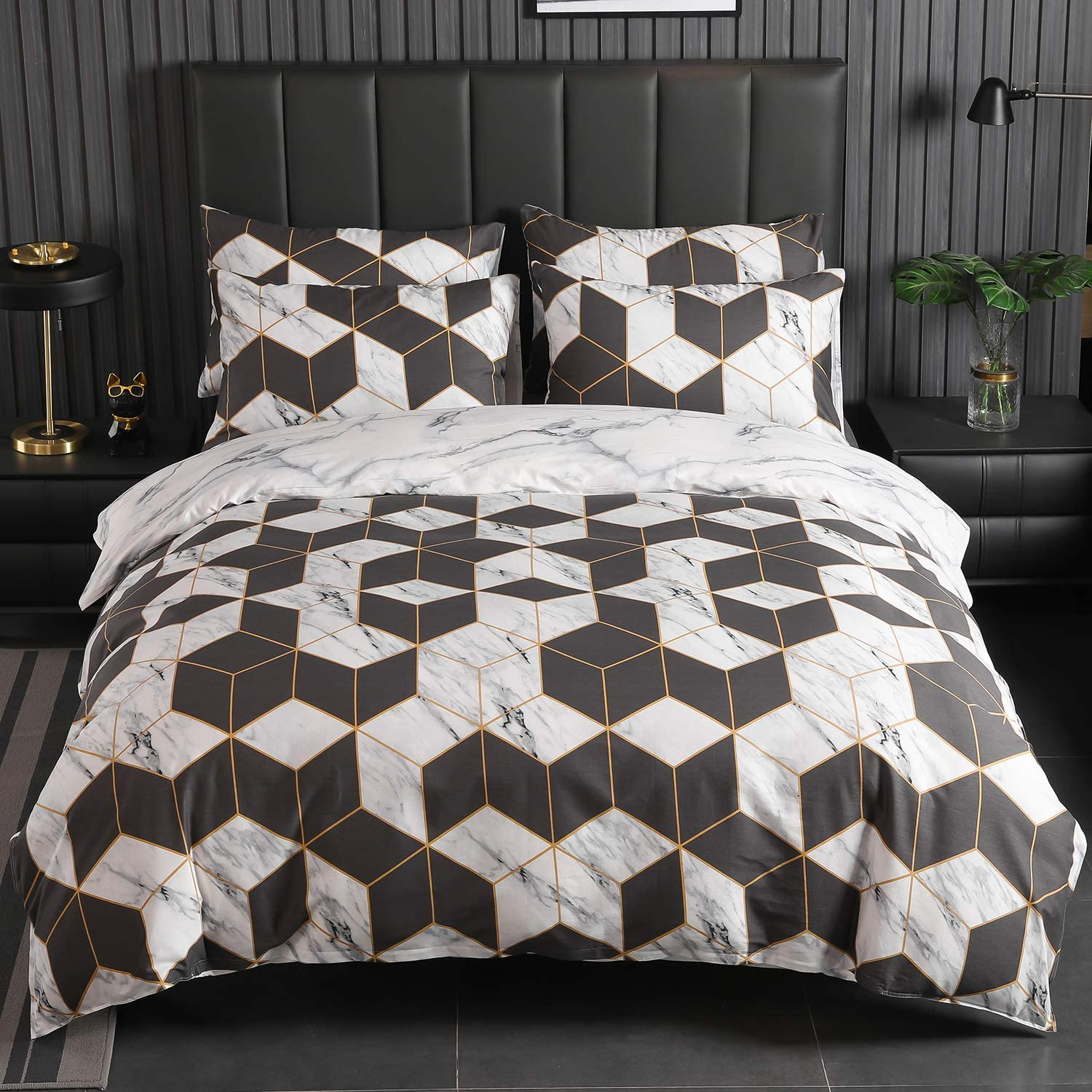 Kosa Bedding 100% Cotton Duvet Cover Set,Brown and White Marble Printed Duvet Cover with Zipper Closure,Soft and Easy Care Comforter Cover Set,Reversible Pattern Bedding Set for All Season(Queen Size)