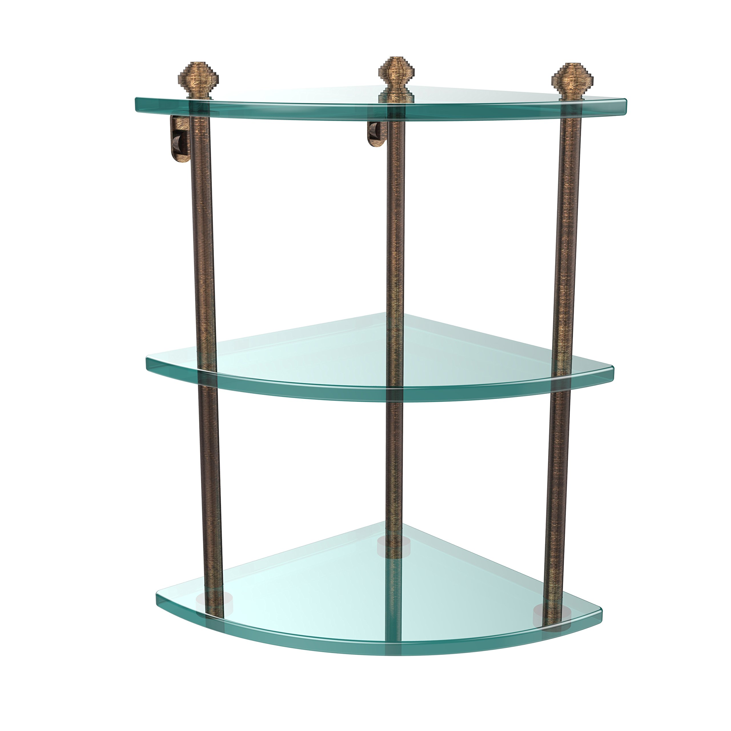 Allied Brass SB-6-SCH Double Corner Glass Shelf Polished Brass