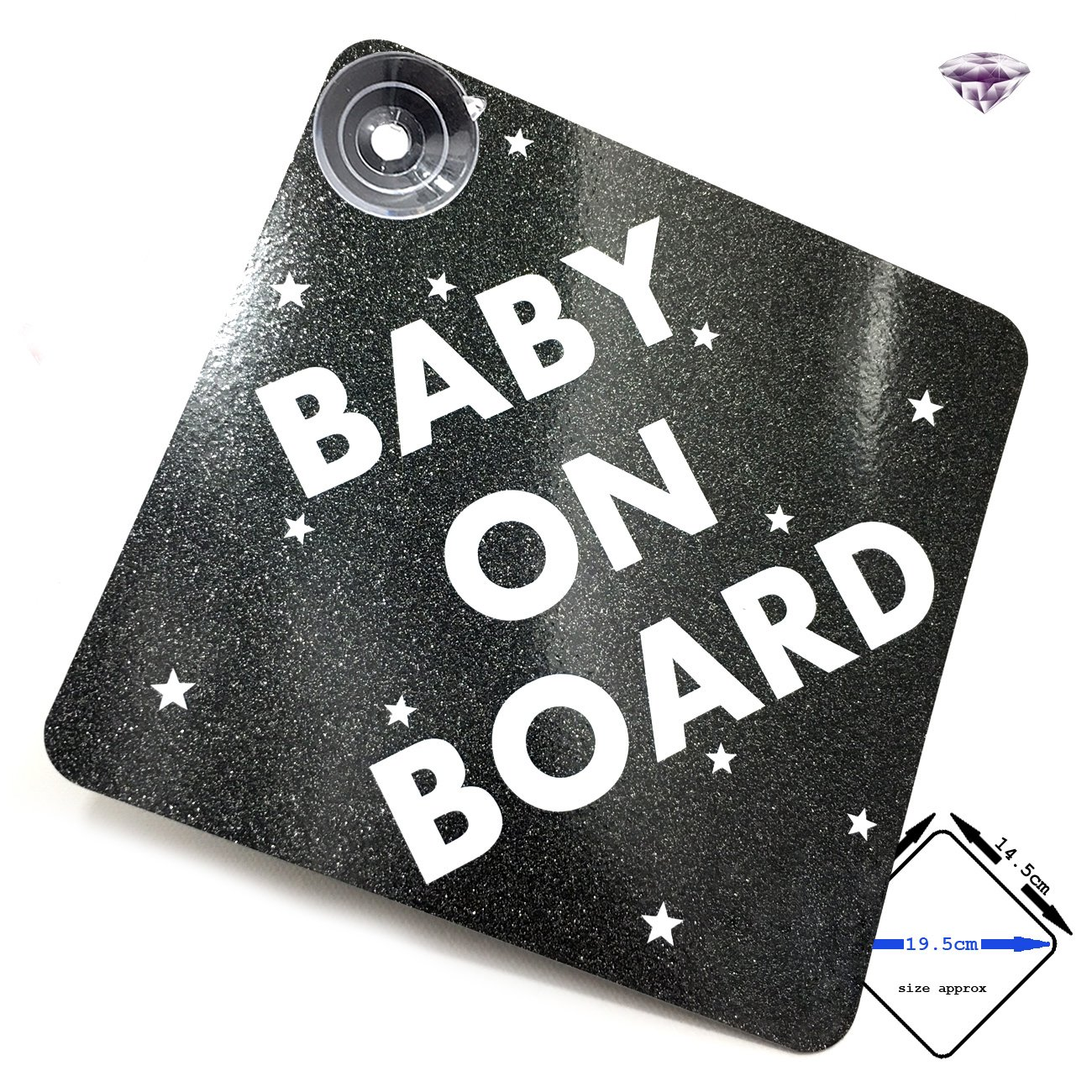 SPARKLING smokey quartz//SUPER BRIGHT fluorescent yellow acepoprt BABY ON BOARD car sign with suction cups