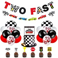 Race Car Two Fast Party Decorations Supplies Racing Theme 2th Birthday Party Banner Race Car Second Birthday Cake Topper…