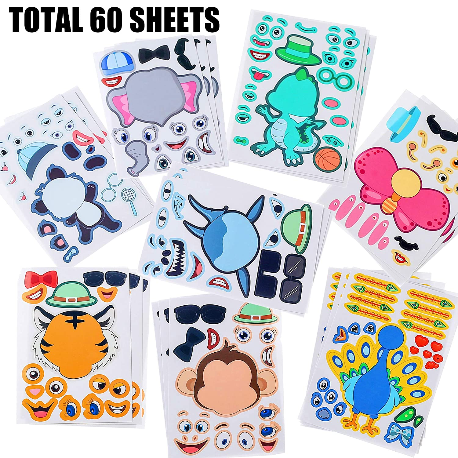 Sinceroduct Make Your Own Stickers,60 PCS Make-a-Face Stickers with 20 Designs Animals Stickers for Kids.Party Favors,Gift of Festival,Rewards,Art Craft.