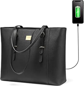LOVEVOOK Laptop Bag for Women, Structured Leather Computer Bag, Professional Work Tote Purse, Teacher/Attorney's Choice, USB-Black