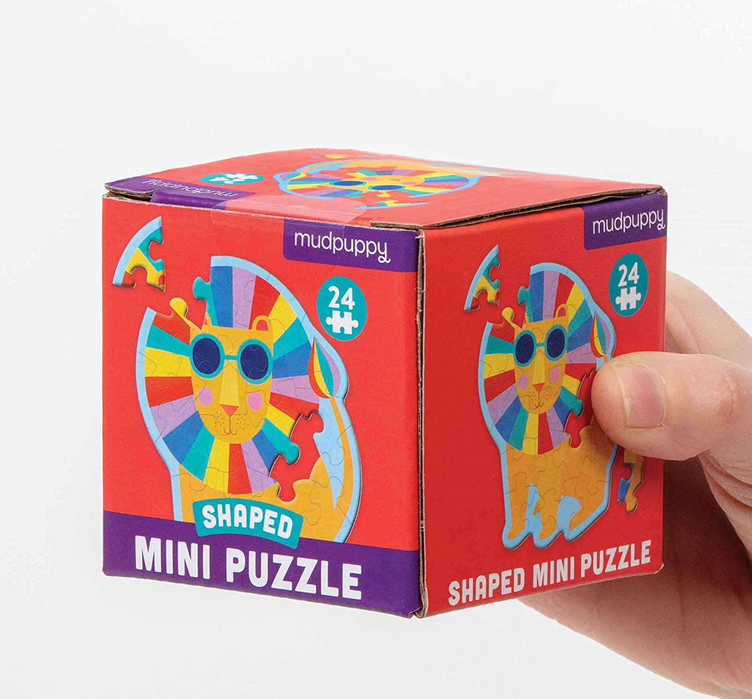 """Rainbow Lion Shaped Mini Puzzle Makes a Great Gift Idea Die-Cut Jigsaw Puzzle Featuring a Colorful Illustration of a Funny Lion Face 6/"""" x 6/"""" 24 Pieces"""