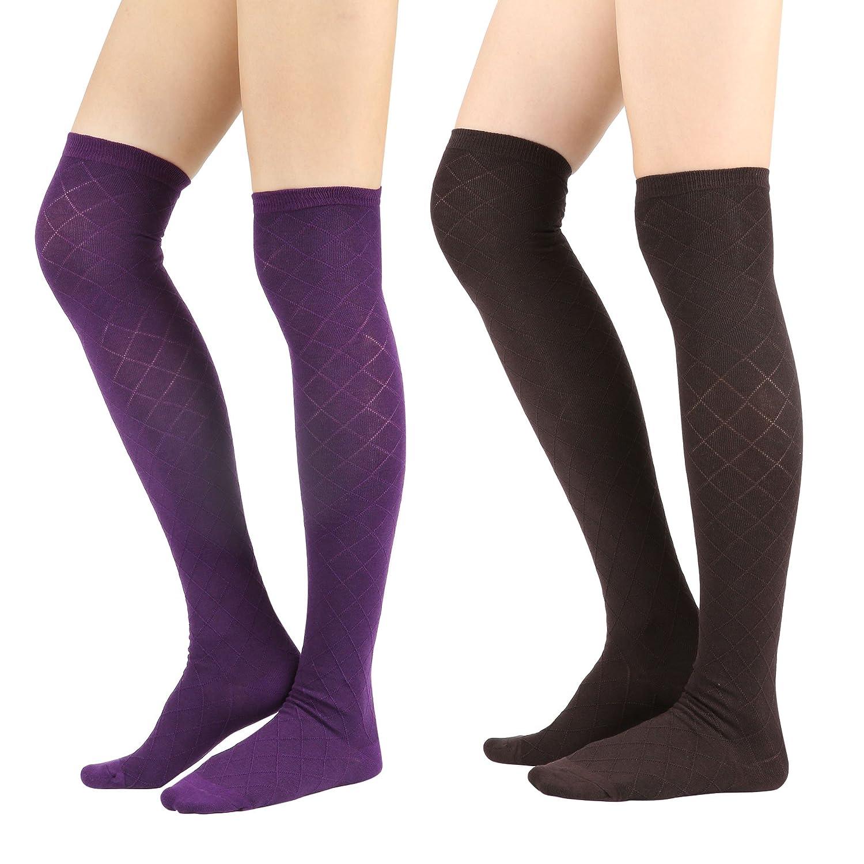 Womens Cable Check Stripe Pattern Over The Knee High Socks Diamond-2Pair) Overknee_Ksox_Sale_diamond2p