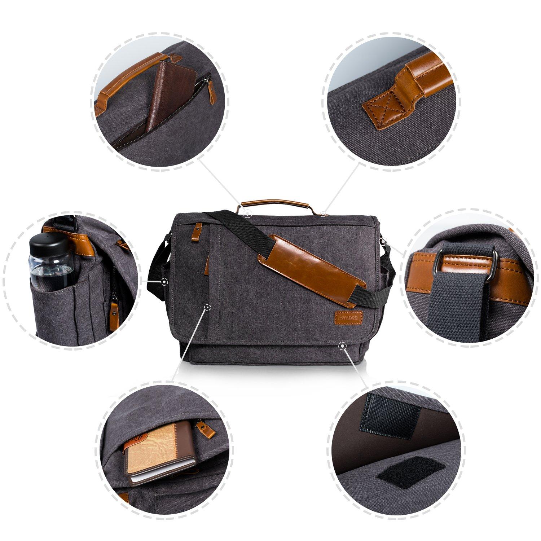Estarer Laptop Messenger Bag 17-17.3 Inch Water-resistance Canvas Shoulder Bag for Work College by Estarer (Image #6)