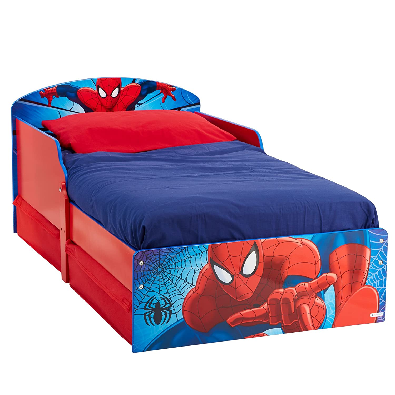 Worlds Apart 516SPA HelloHome Il Lettino di Spiderman con Pratici Cassetti sotto Il Letto, MDF, Rosso e Blu