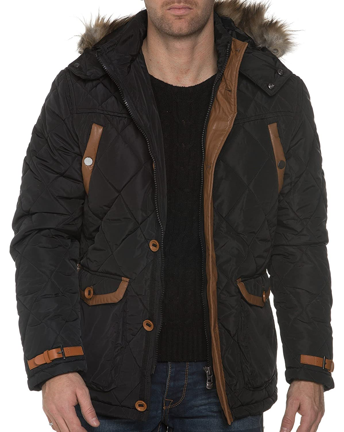 BLZ jeans - Black Quilted Jacket Removable Hood