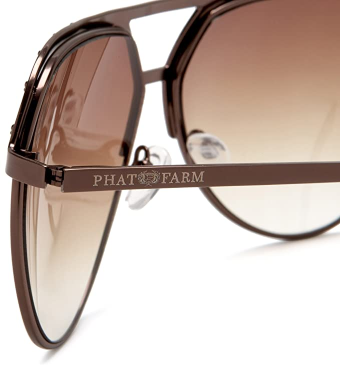 Phat Farm Men\'s 5019 Metal Sunglasses,Matte Brown Frame/Black Lens ...