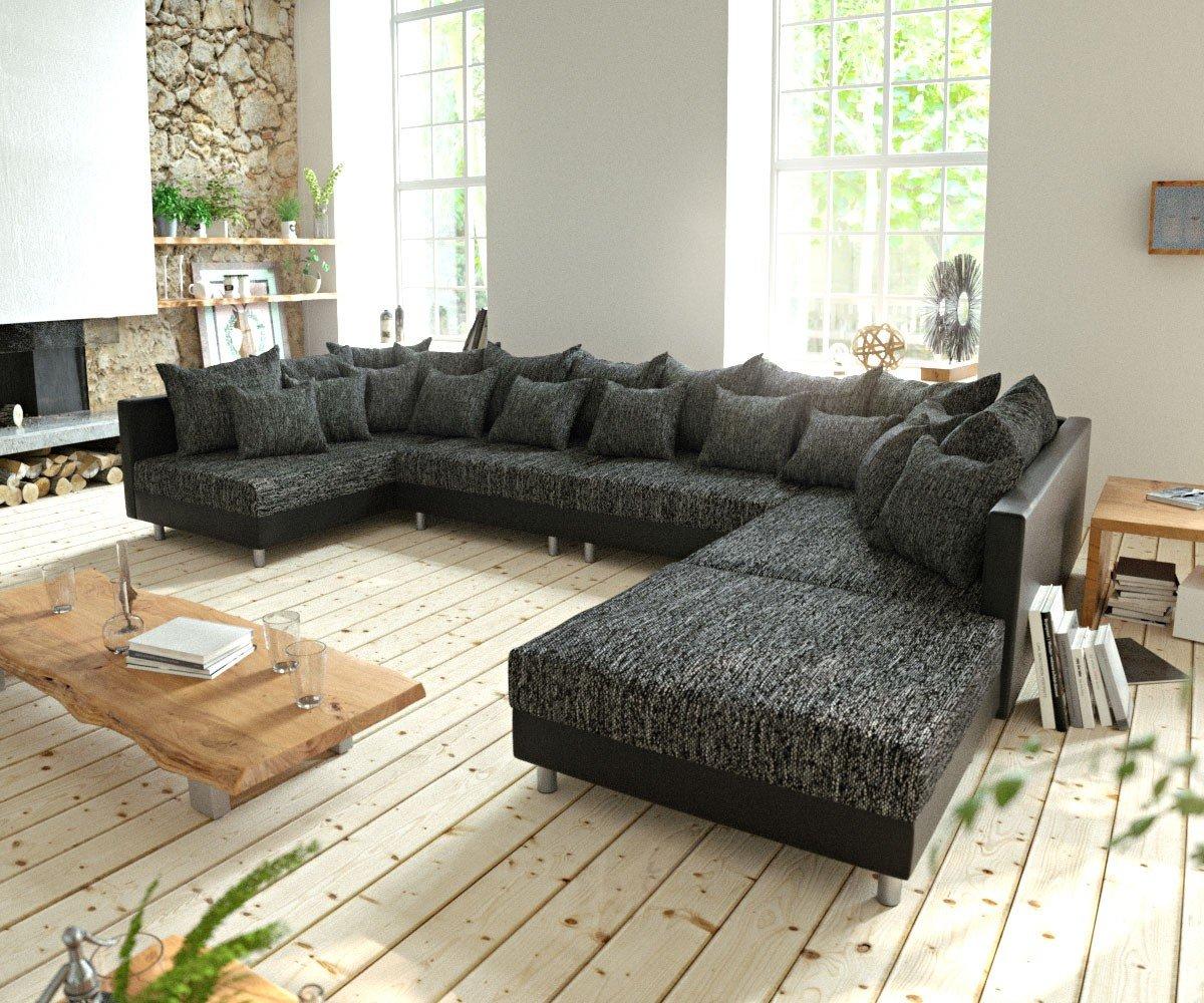 Couch Clovis Xl Schwarz Mit Hocker Wohnlandschaft Modulares Sofa Gunstig