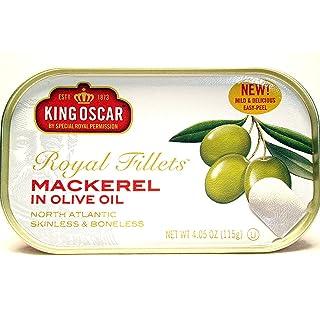 King Oscar Royal Fillets Skinless & Boneless Mackerel in Olive Oil (Pack of 4) 4.05 oz Cans
