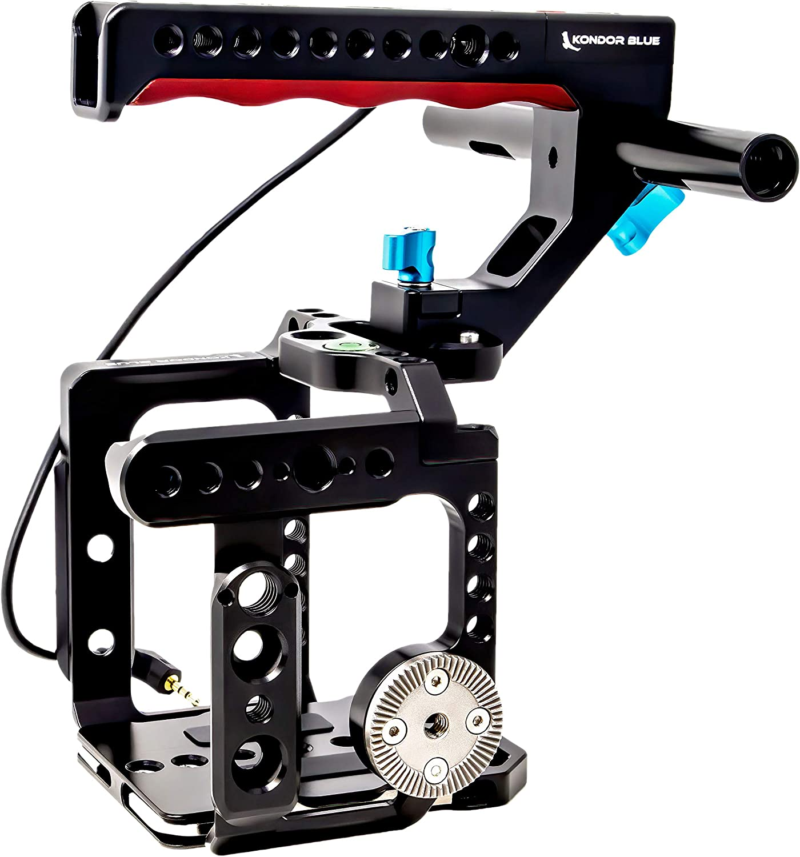 KONDOR BLUE Z Cam Flagship Cage Rig with LANC REC Top Handle for Z Cam S6 F6 F8 Bubble Leveler Rosette 15mm Rod Holder Black NATO Rails Baseplate and Optional T5 SSD Holder.