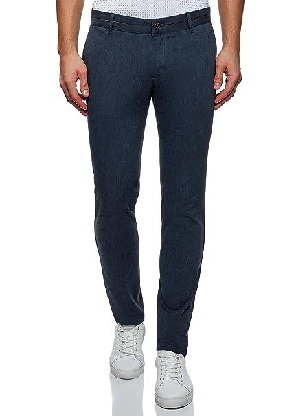 oodji Ultra Hombre Pantalones Chinos con Acabado en Contraste IPTbB