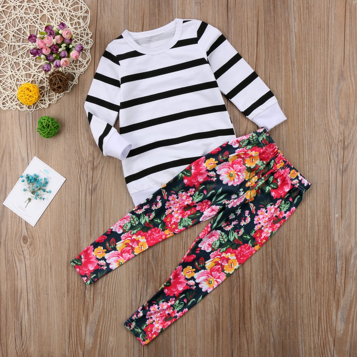 Kids Toddler Baby Girl Long Sleeve Striped T-Shirt Tops+Floral Pants Outfit Set