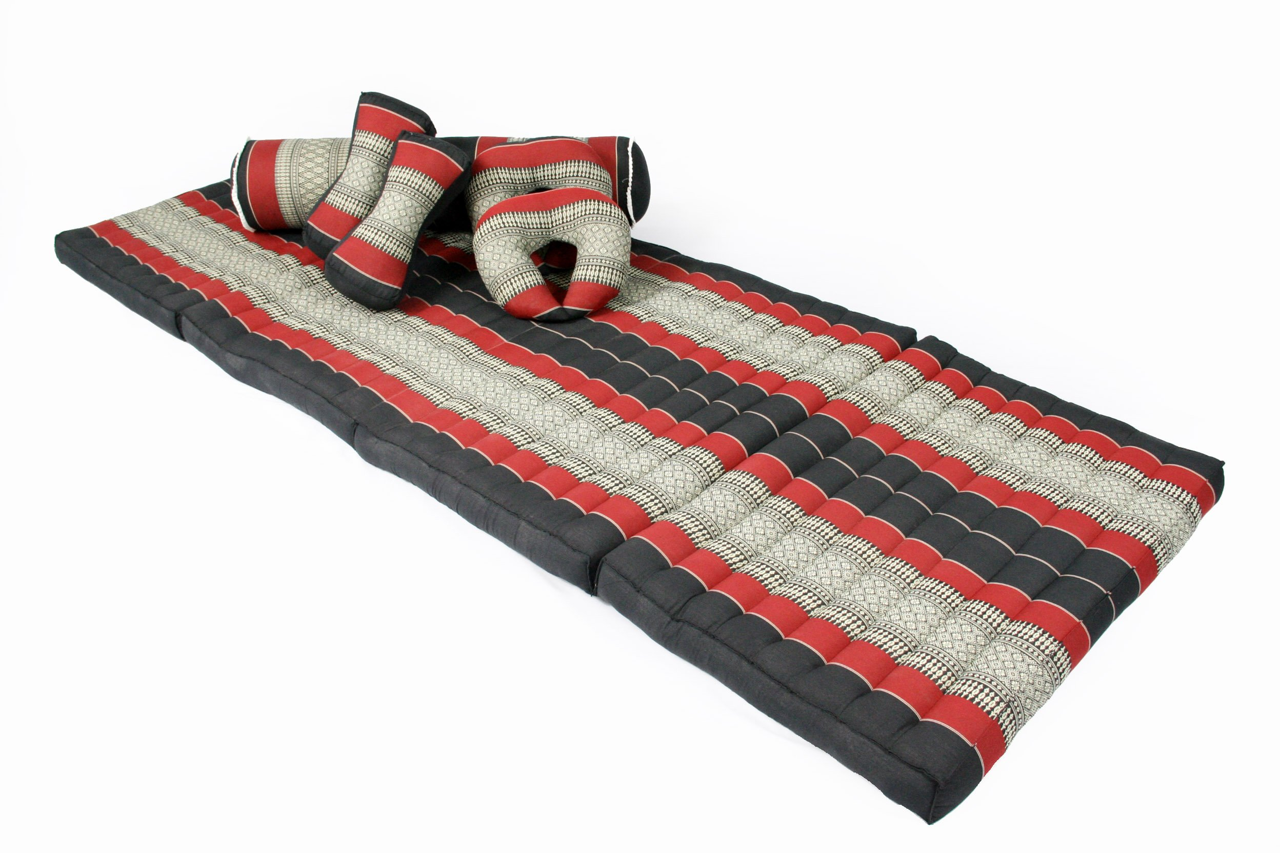 Massage Set III: Foldable Matress 78x31 inches + Bolster 31x7 inches + 4 Pillows, Traditional Thai Design, kapok-filled, black/red by Handelsturm