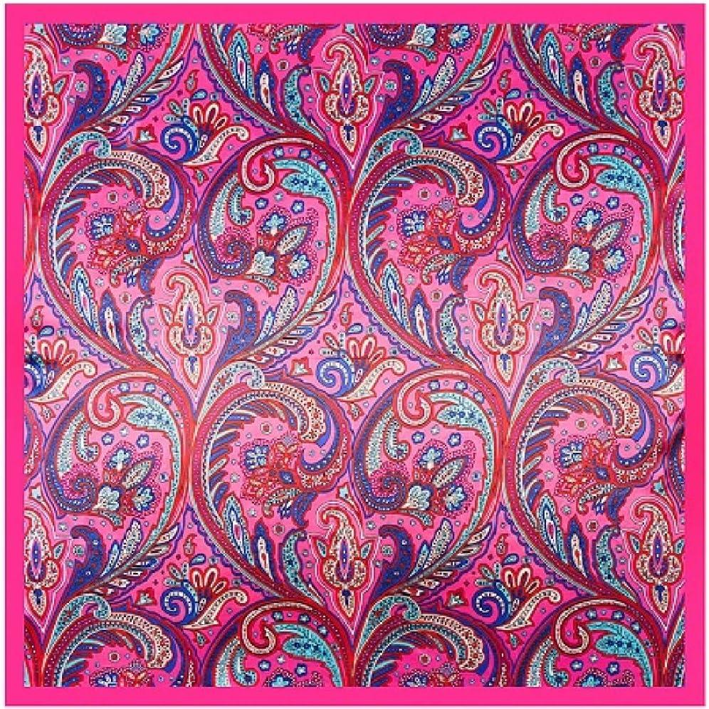 DFHTR Sciarpa di Seta Quadrata da Donna di Marca Floreale Sciarpe con Anacardi Scialle///Foulard Grande Formato Hijab Foulard 90 Cm X 90 Cm