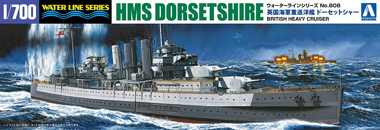 Aoshima 1//700 Scale Kit Waterline 52693 Royal Navy Heavy Cruiser HMS Dorsetshire