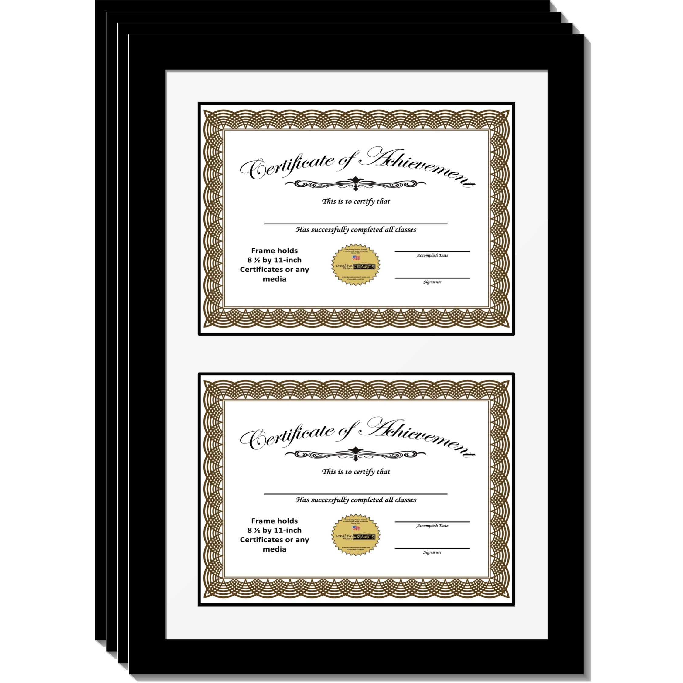 CreativePF [14x20bk-w] Double Diploma Frame with White Mat, Holds Two 8.5 by 11-inch Documents with Wall Hanger (4-Pack)