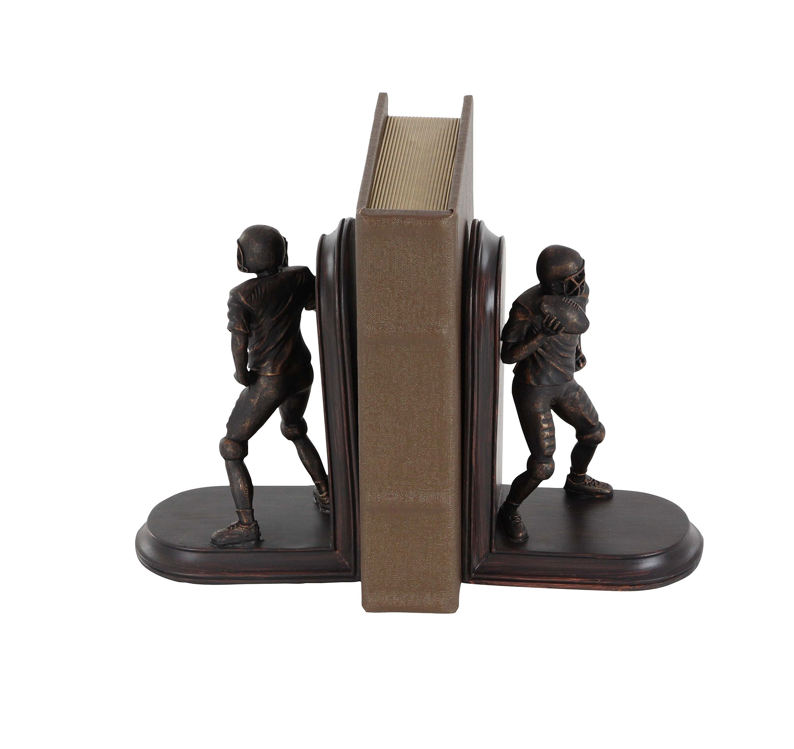 Deco 79 79029 Pair of Football Player Bookends, Brown by Deco 79