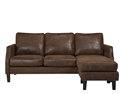 Enjoyable Abbyson Mason Reversible Sofa Sectional Dark Brown Gmtry Best Dining Table And Chair Ideas Images Gmtryco