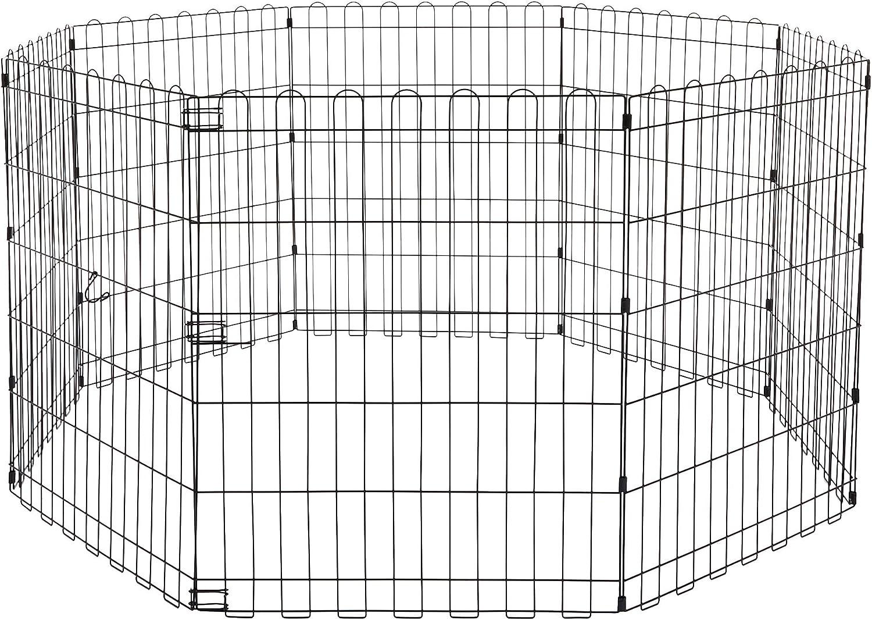 AmazonBasics - Parque de juegos y ejercicios para mascotas, paneles de valla metálica, plegable, 152,4 x 152,4 x 76,2 cm