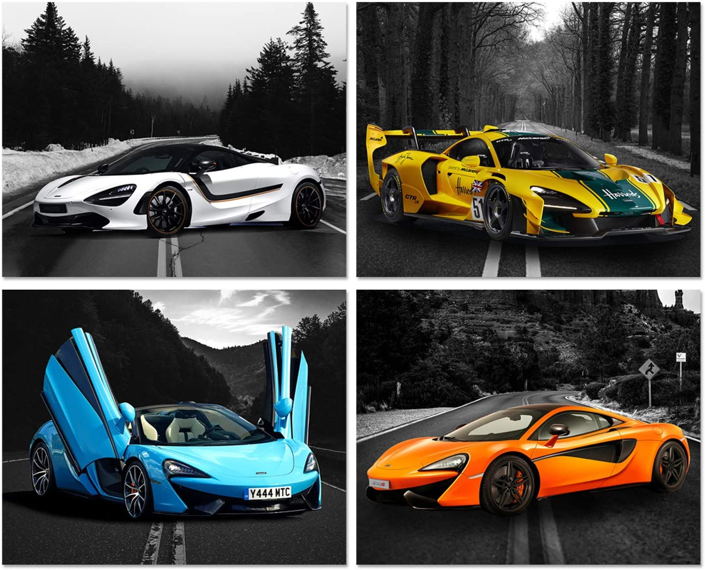 Car Posters - Mclaren Posters - Senna GTR, 570S Spider Curacao, 720S MSO Sports Car Wall Art - Supercar Decor Set of 4 Unframed (8x10 inches) Exotic Supercars Pictures - Mclaren Greyscale