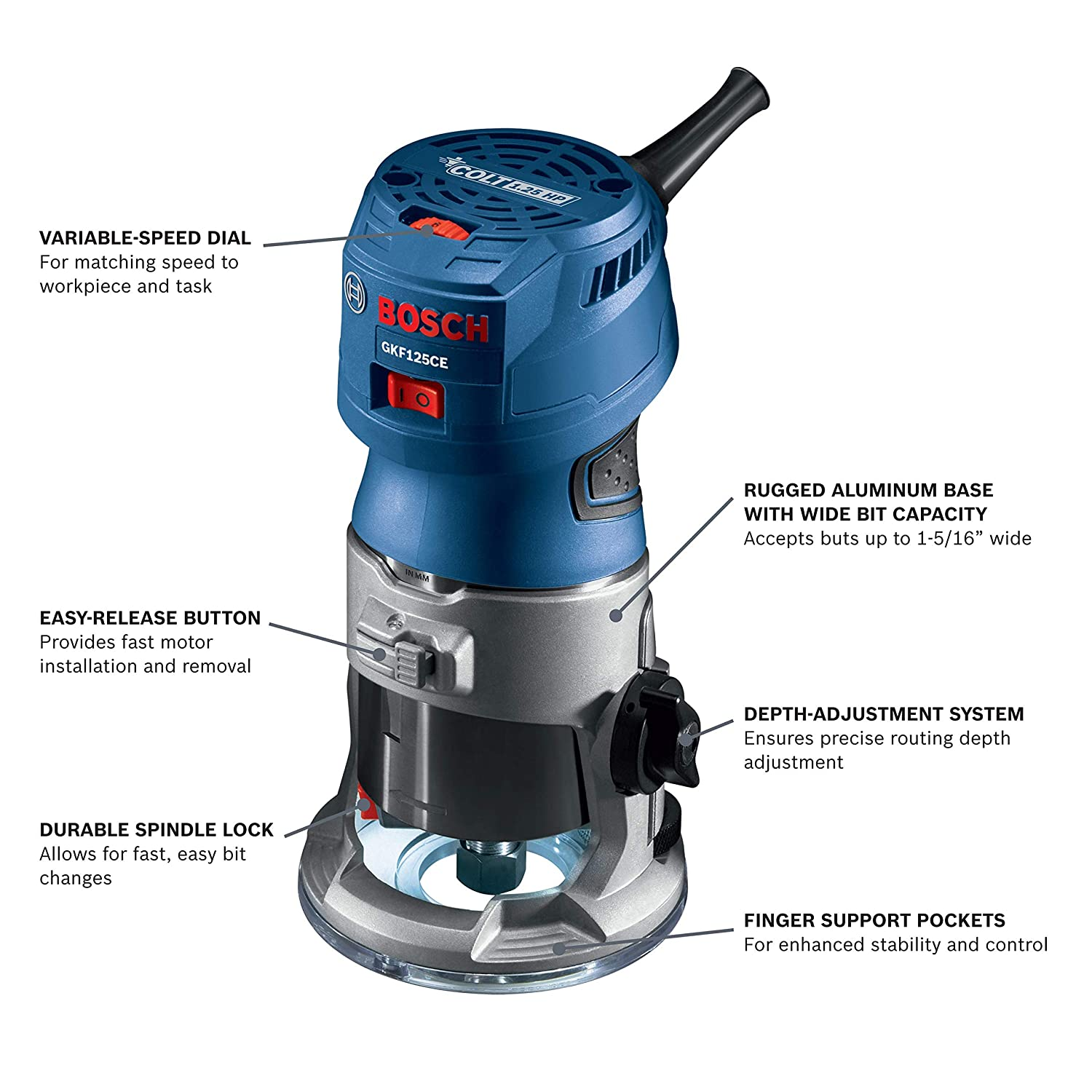 Bosch GKF125CEN Colt 1.25 HP Max Variable-Speed Palm Router