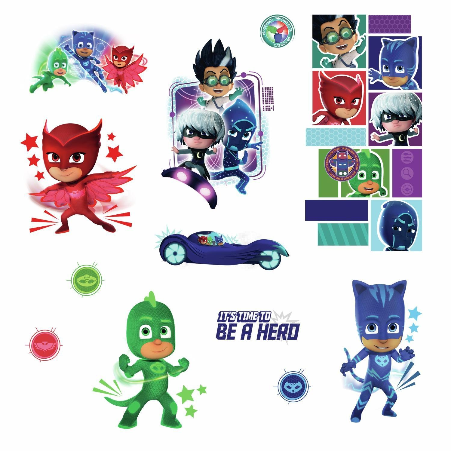RoomMates RMK3586SCS PJ Masks Peel and Stick Wall Decals, 9 inches X 17.375 inches by RoomMates (Image #3)