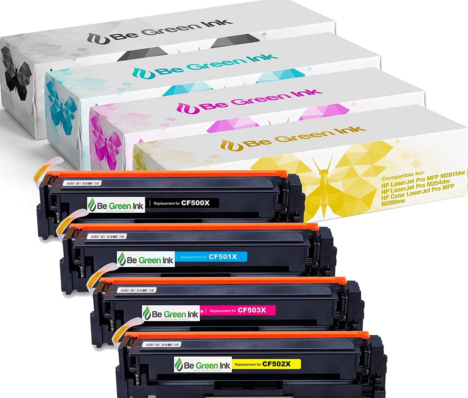 Be Green Ink Compatible Toner Cartridge Replacement for HP 202X 202A M281fdw M281cdw LaserJet Pro M254dw M254nw M280nw CF500X CF501X CF502X CF503X (4-pack, High Yield)