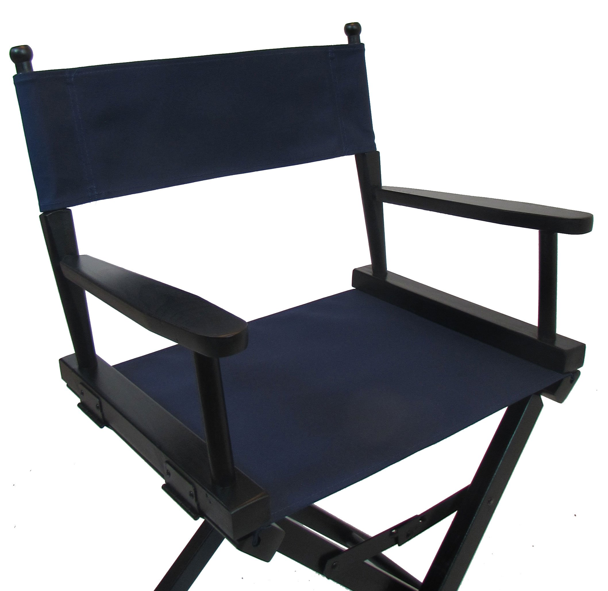 PERSONALIZED IMPRINTED Gold Medal Contemporary 18'' Table Height Black Frame Directors Chair - Navy