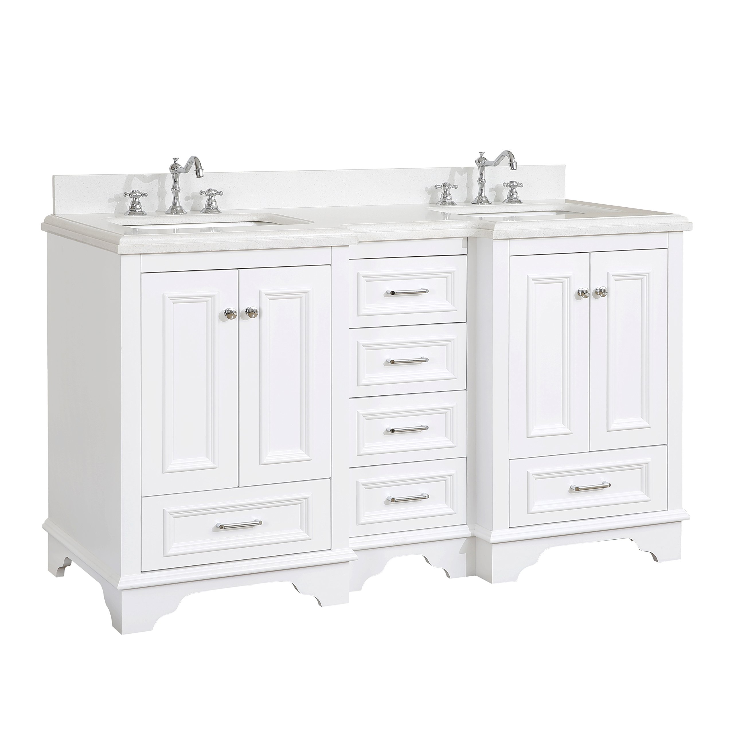 Nantucket 60-inch Double Bathroom Vanity (Quartz/White): Includes White Cabinet with Soft Close Drawers, Quartz Countertop, and Two Ceramic Sinks