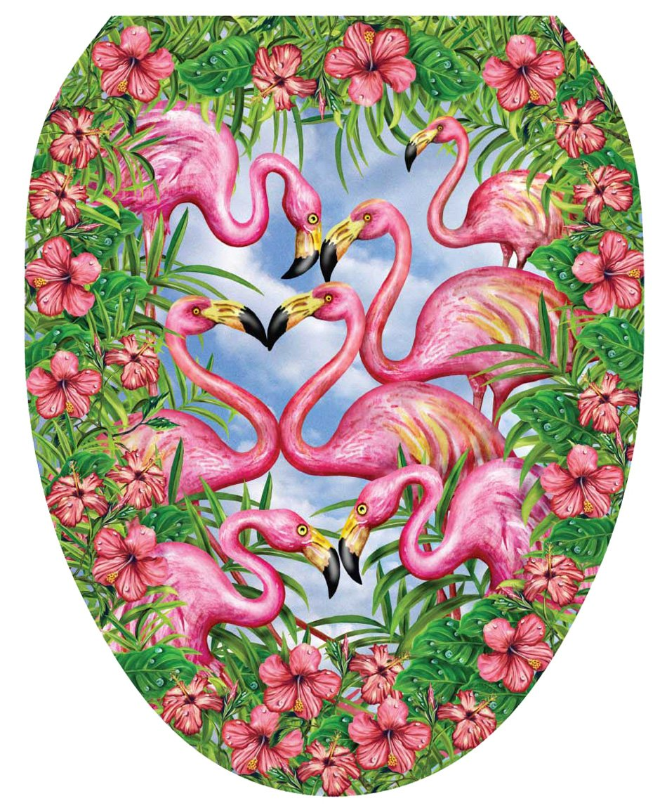 Toilet Tattoos TT-7307-O Flamingo's Fancy Decorative Applique for Toilet Lid, Elongated by Toilet Tattoos