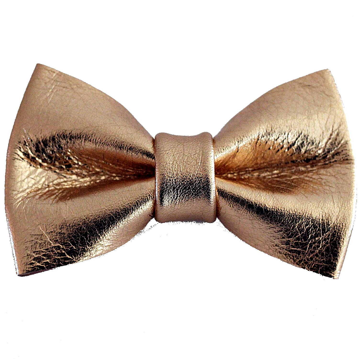 Boys rose gold genuine leather bow tie