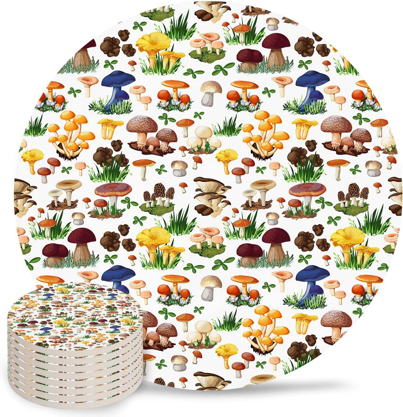 Absorbent Ceramic Drink Coasters for Table Decor, Cartoon Plant Mushroom Child Heat-Proof Cups Place Mats for Wine Glasses Cups & Mugs, 8 PCS Set Round Coaster for Home or Bar Use
