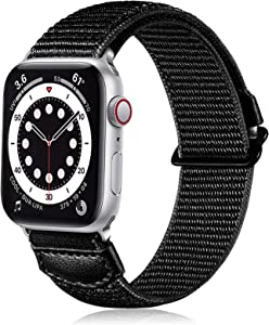 Ouwegaga Compatible with Apple Watch Band, Soft Breathable Sport Adjustable Weave Loop Nylon Wristbands Strap for iWatch 42mm Band Series SE 6 5 4 3 2 1,Women Men Black