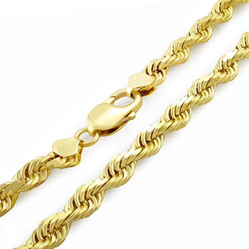 Men/'s 14K Yellow Gold Plated 24 Inches Rope Chain Necklace 2 mm