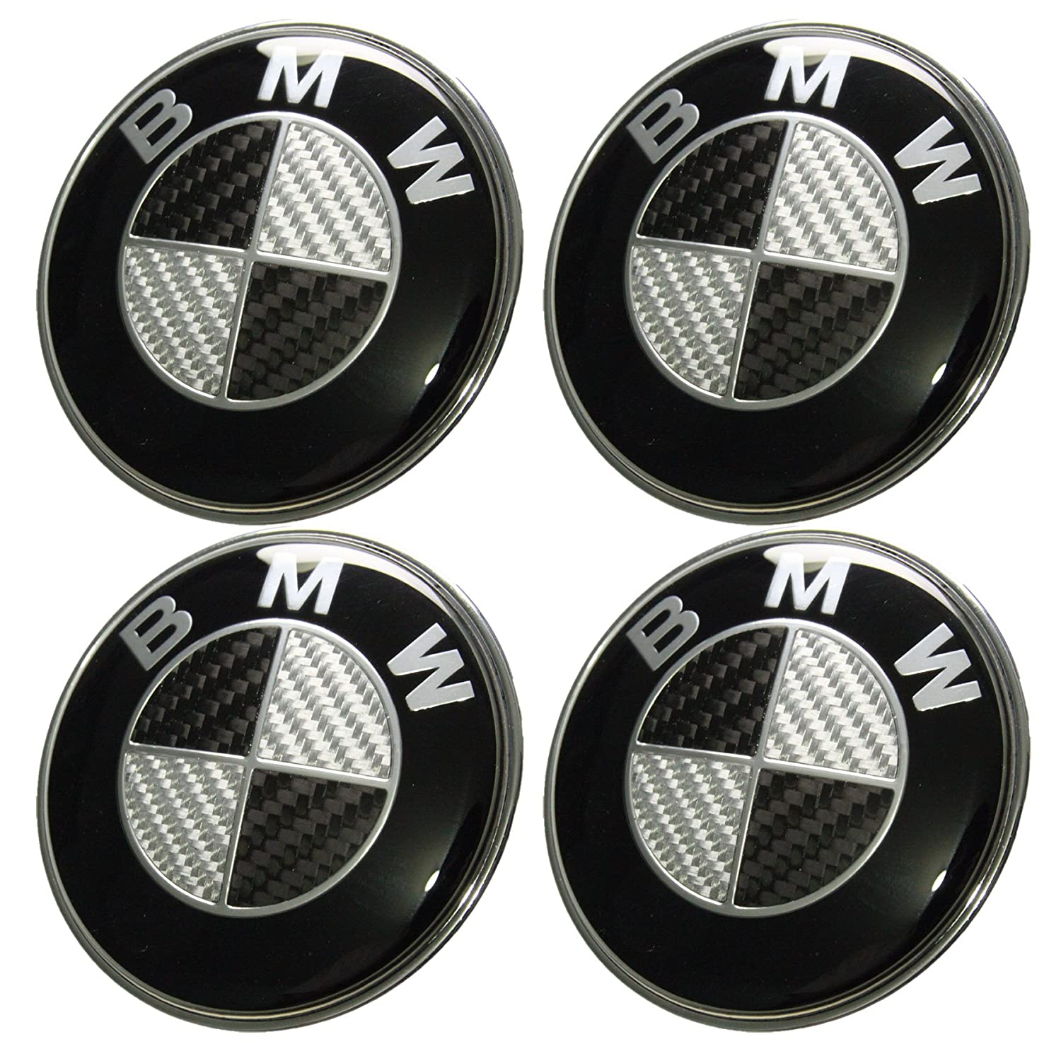new 7pcs x carbon fiber black silver emblem logo for bmw. Black Bedroom Furniture Sets. Home Design Ideas