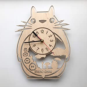 Studio Ghibli Totoro Wall Clock Wood Home Decor - Great Wall Art for Living Room Bedroom Kitchen for Men Women Kids Girlfriend Boyfriend - Silent Quartz Mechanism