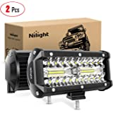 Nilight 18022C-B 6.5Inch 2PCS 6.5 Inch 120W Spot & Flood Combo Bar Driving Waterproof Led Work Light Triple Rows Off…