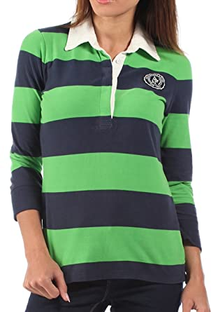 51c92d287cce4f Abercrombie & Fitch Womens Rugby Shirt Green Blue Striped: Amazon.co ...